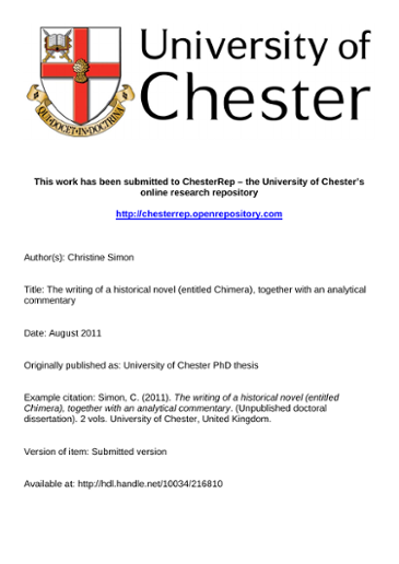 This work has been submitted to ChesterRep – the University of