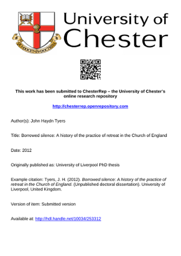 This Work Has Been Submitted To Chesterrep The University Of