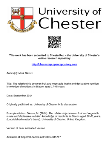 This work has been submitted to ChesterRep – the University