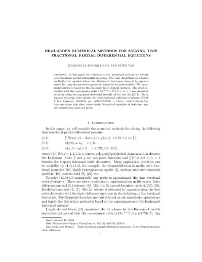 High-Order Numerical Methods for Solving Time Fractional