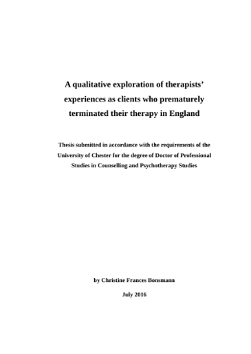 A Qualitative Exploration Of Therapists Experiences As Clients Who Prematurely Terminated Their Therapy In England