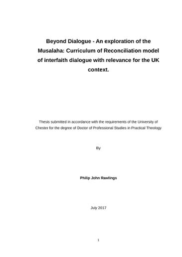 Beyond Dialogue - An exploration of the Musalaha: Curriculum