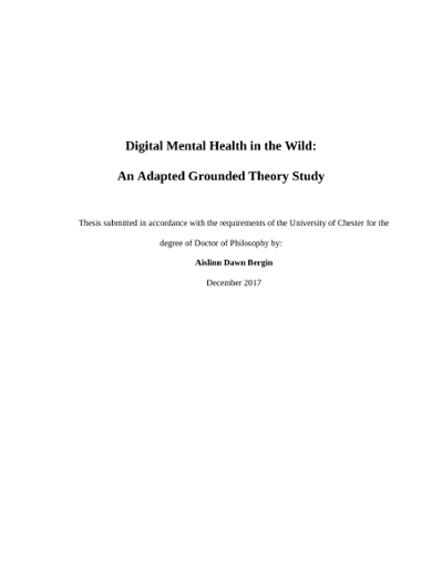 Digital Mental Health in the Wild: An Adapted Grounded Theory Study